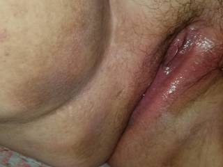 Juicy wetness from after playing with my tight Lil pussy.