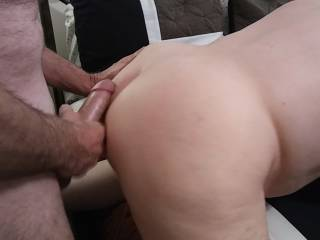 I am about to unload on this great ass. After the wife gets all of my hot cum, I will plunge my hard, thick cock back in to her hot, wet pussy. Listen to her moan in the video.