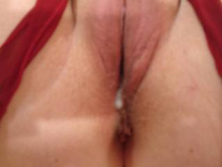 My cum starting to drip out of Mrs M's beautiful pussy. I think she needs some more....
