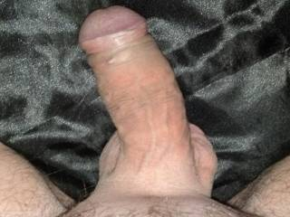My shaved dick on black satin