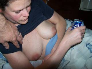 September beer photo contest. Pulled the wifes shirt up to take a picture of her tits.