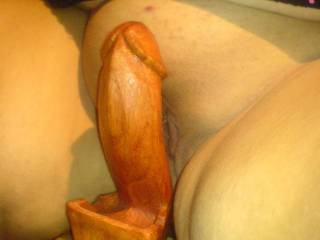 Hope you didn't get any spinters? One thing with your wooden cock,it will never go limp!
