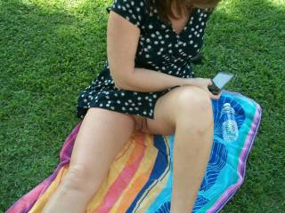 I'd love to see you in the park like this. I'd love to lay down and sink my tongue deep in your pussy.