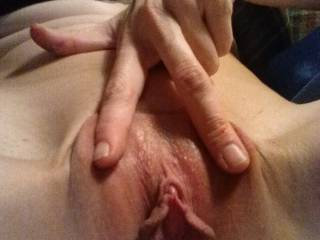 My hubby loves when my pussy gets his leg wet... I hope he\'s ready for the flood!