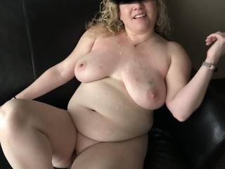 It was so incredibly sexy and we were both so turned on when we were fucking in my office with people in the room right next to us. I blew a huge load onto Kiki's face and tits. Any ladies want to lick my cum off Kiki's body?