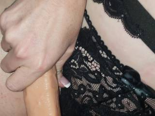 filled my wifes amazing pussy with a big cumming strap on then she jacked it off while if filled her full of my cock using cum as lube.