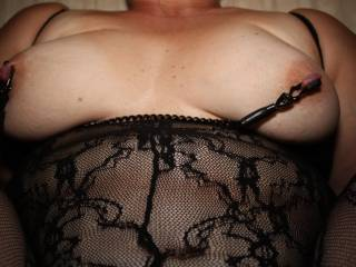 I fucking love this outfit, dont you! Nipple clamps while she\'s sitting on my dick fucking