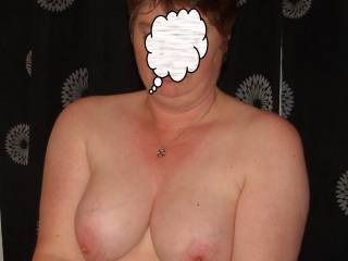 mature wife showing her lovely tits