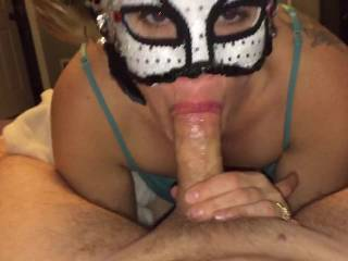 Wow!!! she is a hot cocksucker.....love that mask.  I want my cock in her mouth....ooooo, I'd blow a huge load for her.  I'd  have to watch her while she was sucking my cock.  I'd want her to swallow it.   G