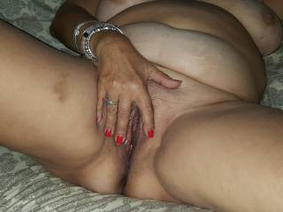 I love spreading my lips for you. I imagine your cock filling my pussy