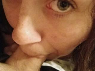 Using her deepthroat skills. She swallows loads down the throat.