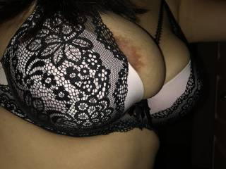 Teasing him with her big tits