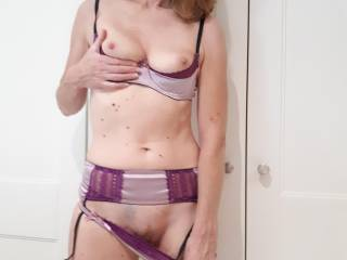 trying on new lingerie, tits, nipples and pussy