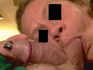 Second of 4 pictures of girlfriend sucking on my dick and balls. Earlier she put the hollow  Penis Plug in me and the Silicone Cock Ring around me. Felt so good that in just a minute I was cumming. Do you like having your balls sucked on???