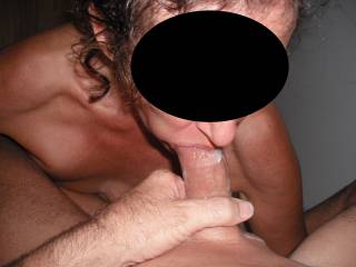 Hubby cums a big load in my mouth after a long session.