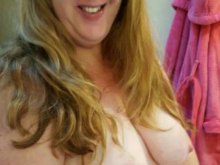 I\'m waiting for someone to come and nurse on my milk filled tits!