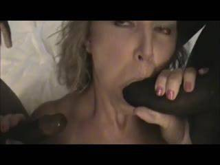 Slut wife Sucking two Big Black Cocks and loving it
