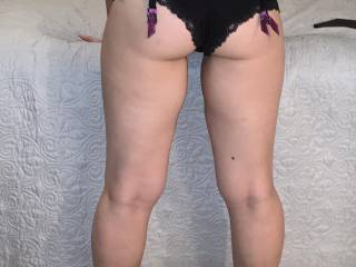 Hubby wanted me to pose before our fantasy threesome. He loves my thick ass and legs.