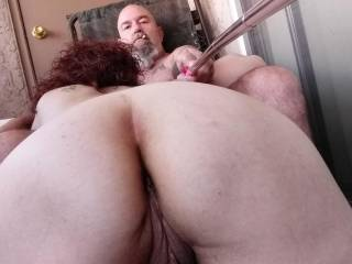Ol man having fun with the selfie stick while getting an afternoon blow job....such a good little cock sucker.
