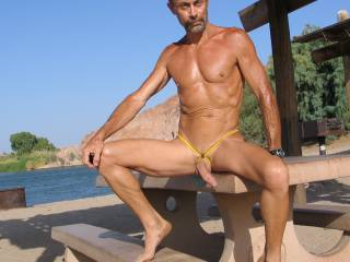 Enjoying the life of a nudist at the remote river area