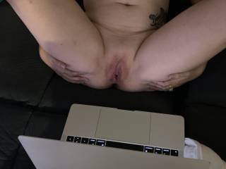 Hubby loves watching me rub this wet pussy for everyone