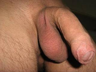 Nice uncut cock...shaved and ready to go...love to see it hard...