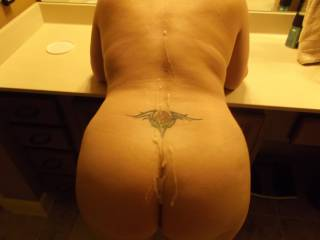 I was away for about two weeks. Big cum all over her back and ass.