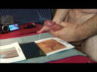 This is a different, table high recording, cumming over SexPacker. But, if you look beyond my dick, and in the background? You see other cameras recording and the cumshots on those screens.