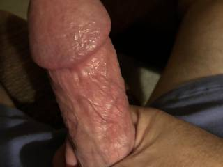 Stroke my slick cock getting it ready for your pussy