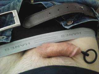 My husband\'s soft cock at work on Friday afternoon, plugged with a 6 inch beaded hollow plug with a pull ring.