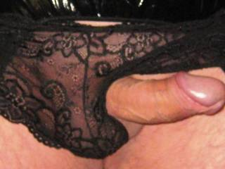 Showing off in my new black lace panties.  What do you think?  Do you like them?  Would you like to suck my cock?