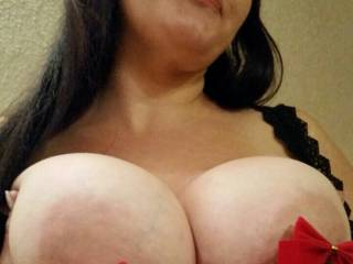 Ho ho ho! Gorgeous tits,Vixxxen! Those big beauties would make a great present! You are truly gifted! My big thick cock would look and fit very nicely between your amazing tits! And they'd look very festive covered with a huge load or two of my fresh hot cum! With long strings of cum hanging from your hard nipples like tinsel!
