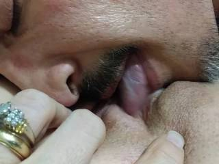 Hubby loves to lick my pussy and practice his cream pie technique.