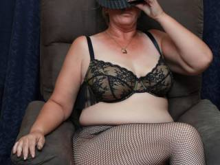 Hat, bra and pantyhose. I\'m practically dressed!