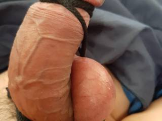 My cock tied up like a big ball of cock meat.