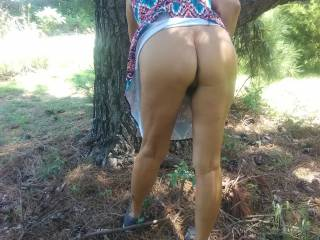 Cuckhusbands slut wife takes a walk in the woods. She was hoping to run across a couple horny men.