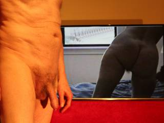 With such a close up of your butt and the hint of your pubic hair how long do you think \'He\' will remain dangling?