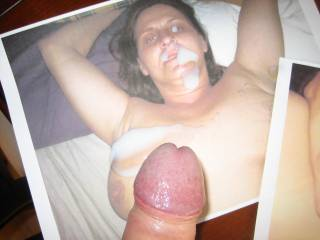 A received picture of this guy blowing his load on her pic.. Would love to receive pics & video\'s of you wanking and jerking your hot cum over her... Hope you enjoy....