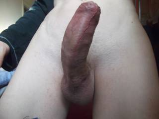VERY nice cock! would be nice to give him a good licking and sucking before sitting on him and letting you drive all the way up inside me mmmmm