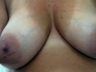 recent pic of mrs.bdr,was a selfie she sent to me to brighten my day. Love her large nipples and big areola