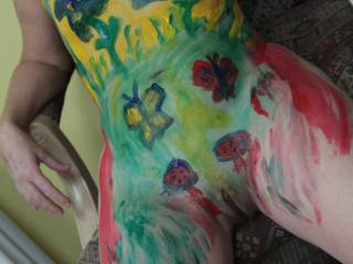 There was a mention of body painting and I just happen to have some pic to share. My photographer was like a little k-i-d finger painting, with a huge smile on his face and a huge bulge in his pants. Afterwards the canvas was cleaned. Who wants to be next