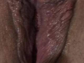 This is a close up of the wife\'s sweet pussy. What would you do to it?