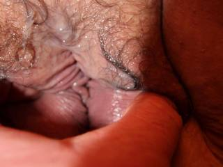 Playing with a creampie in my BBW wifes pussy