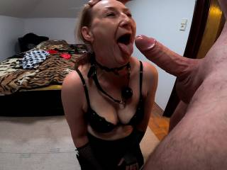 sub learning how to open wide her mouth for big cock and sperm