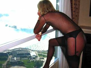 My dream cum true...I would love to grind you at the window, knowing others were watching us....and hopeful getting horny
