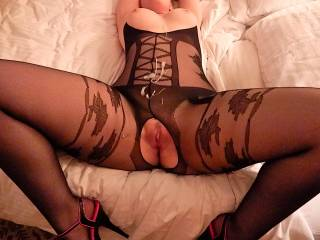 I'd love to leave a nice warm load on her silky bodystocking