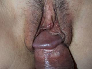 Awsome pic. Mouth watering. She looks so tight, lucky man and she is luvk as he is long and thick.