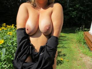 Your big boobs are fantastic, i would love to be sling my hard cock between them!