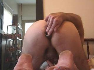My wife\'s favorite 8 inch toy buried in my Ass she gets hot watching me master bate an play with toys for her