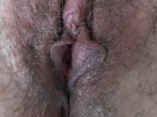 Kiki's wet hairy pussy. She's been begging me to let her get her pussy and ass waxed, do you think I should let her? Do you want to see her completely hairless again?